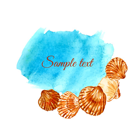Vector template. Background with seashells. Watercolor. Card. Frame. Illustration