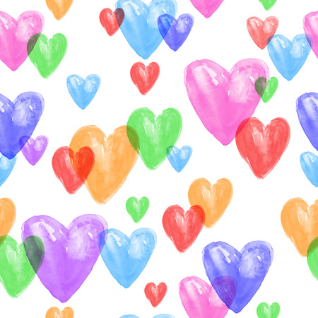 Seamless vector pattern with hearts. Watercolor vector abstract background. Watercolor hearts. Illustration