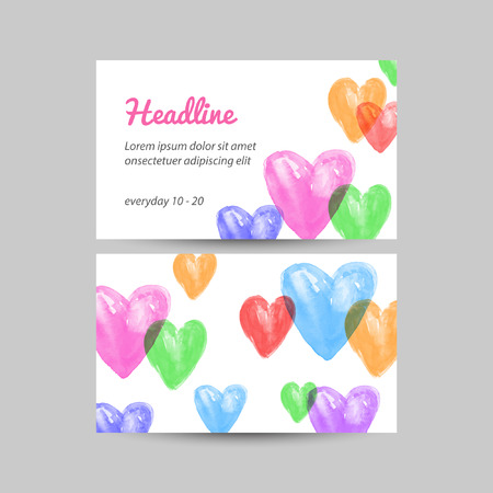 Business card. Watercolor vector abstract background. Watercolor heart. Illustration