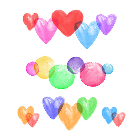 Set of watercolor hearts. Watercolor vector background. Colorful.