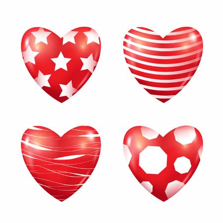 Set of red hearts. 3D vector background.