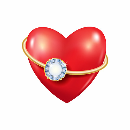 Heart with ring. Vector backrgound. Red. 3D.