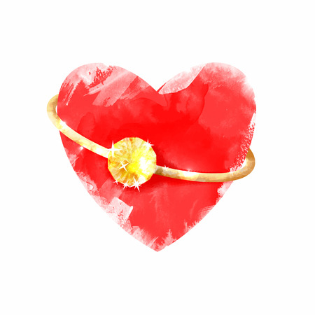 Heart with ring. Watercolor vector backrgound. Red.