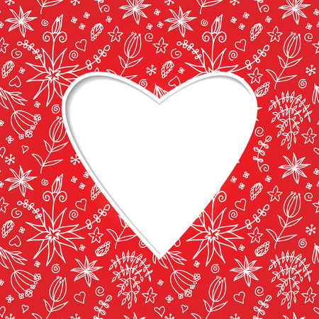 Heart. Paper effect. Vector red background. Valentines day.
