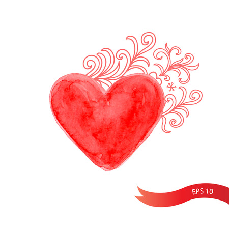 Watercolor red heart with flowers. Vector background. Bright watercolor brush strokes. Template for card.