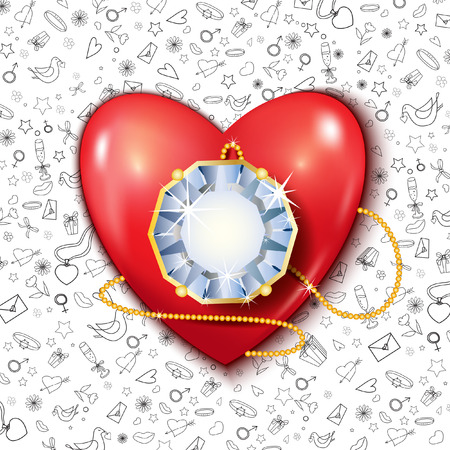 3d dove: Heart with diamond. Vector backrgound. Red. 3D.