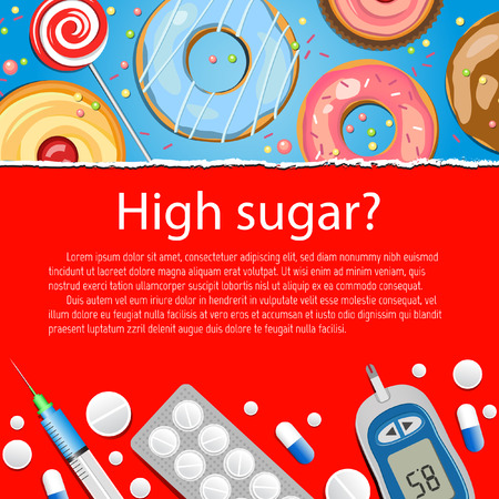 diabetes: Antecedentes m�dicos de alto nivel de az�car Vectores