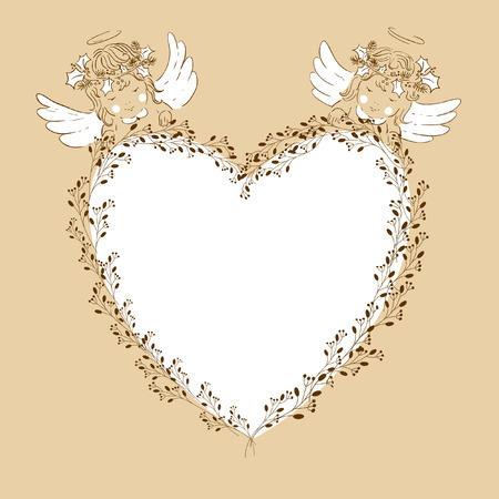 Two angels babies on Heart frame Vector