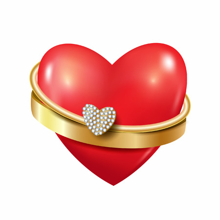 Heart with ring and diamonds. Vector backrgound. Red heart. 3D.