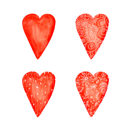 Set of Red heart. Watercolor vector backrgound. Illustration