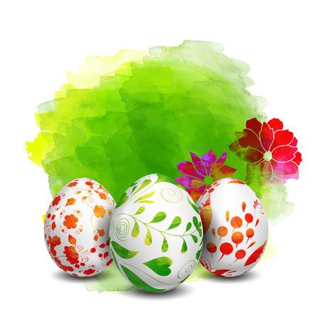 Easter eggs. Watercolor paints. Happy Easter. Vector objects. 3D. Realistic Easter eggs. Vector background. Folk floral painting.
