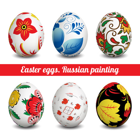 Set of Isolated Easter eggs. Happy Easter. Vector objects. 3D. Realistic Easter eggs. Vector background. Easter. Russian folk painting. Illustration
