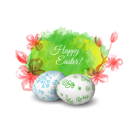 Set of Isolated Easter eggs. Watercolor paints. Happy Easter. Vector objects. 3D. Realistic Easter eggs. Vector background. Folk floral painting.