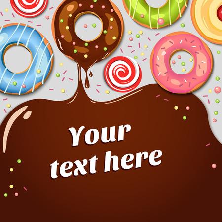 チョコレート シロップのしずくでチョコレート ドーナツ。カラフルなベクトルの背景。お菓子。カップケーキ。休日の背景。食品。