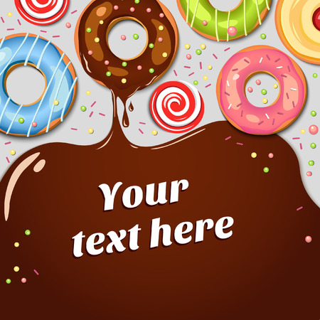 초콜릿 시럽 물감이 떨어지는 초콜릿 도넛. 다채로운 벡터 배경입니다. 과자. 컵 케이크. 휴일 배경. 식품. 일러스트