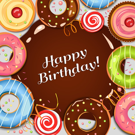 Chocolate donuts. Chocolate spot. Colorful vector background. Sweets. Cupcakes. Holidays backdrop. Food. Illustration