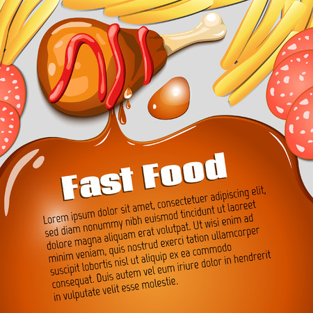 cartoon chicken: Vector background. Diet. Fast food. Vector backdrop. Health care. Illustration