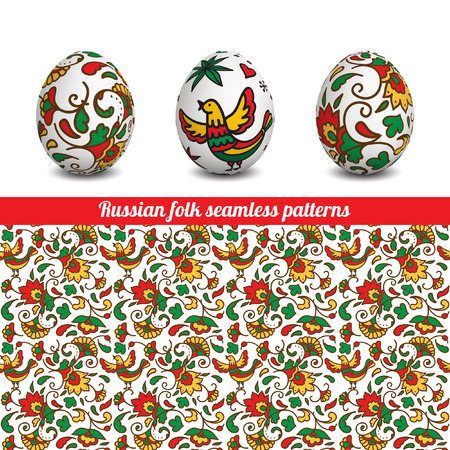 Set of Isolated Easter eggs. Happy Easter. Vector objects. 3D. Realistic Easter eggs. Vector background. Easter. Russian folk seamless patterns. Illustration