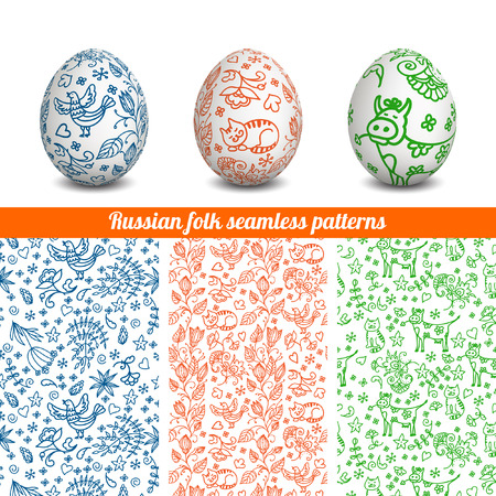 Set of Isolated Easter eggs. Happy Easter. Vector objects. 3D. Realistic Easter eggs. Vector background. Easter. Russian folk seamless patterns.
