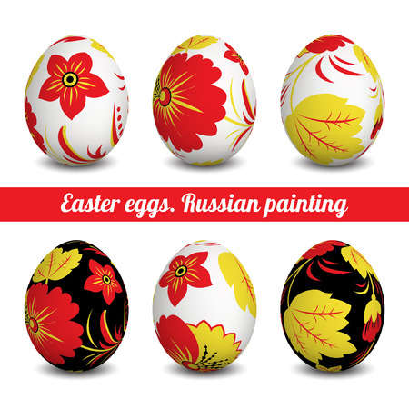 Set of Isolated Easter eggs. Happy Easter. Vector objects. 3D. Realistic Easter eggs. Vector background. Easter. Russian folk painting. Vector