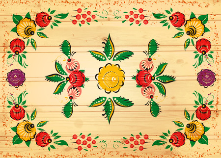 Vector folk background on wood texture. Russian style. Painting. Ethnic. Vector background.