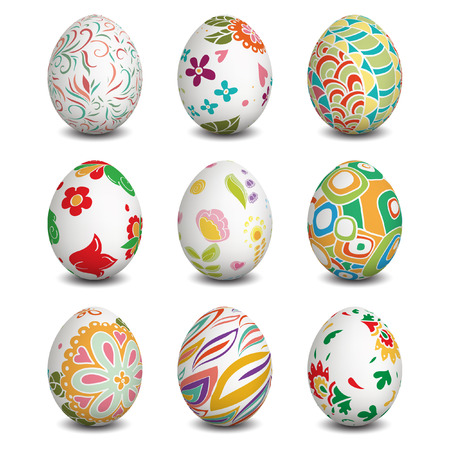 Set of Isolated Easter eggs. Happy Easter. Vector objects. 3D. Realistic Easter eggs. Vector background.