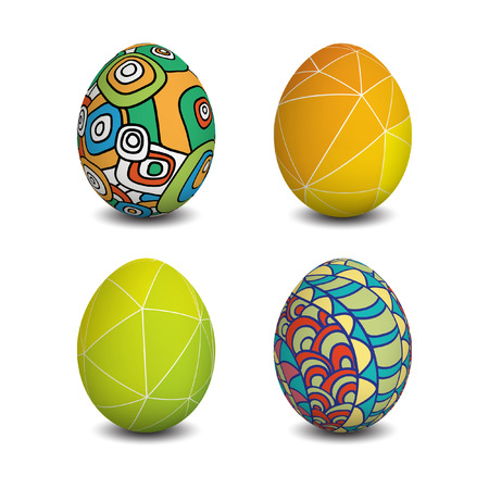 Set of Isolated Easter eggs. Happy Easter. Vector objects. 3D. Realistic Easter eggs. Vector background. Easter. Illustration