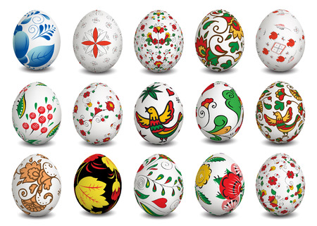 Set of Isolated Easter eggs. Happy Easter. Vector objects. 3D. Realistic Easter eggs. Vector background. Vector