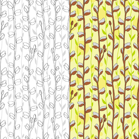 Floral easter seamless pattern. Can be used for wallpaper, pattern fills, web page background, surface textures, textile. Set. Colorful. Black and white. Contour pattern.