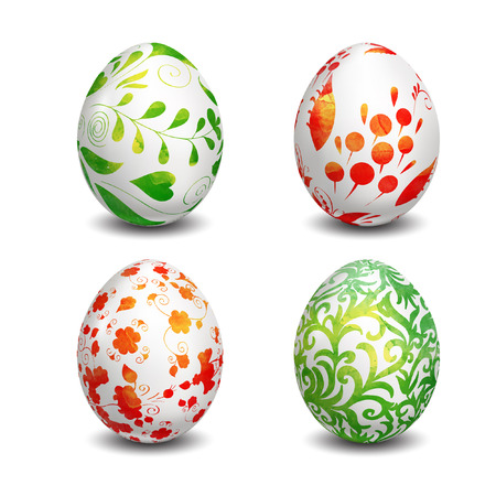 Set of Isolated Easter eggs. Watercolor paints. Happy Easter. Vector objects. 3D. Realistic Easter eggs. Vector background. Folk painting. Vector