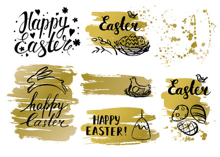 religion  herb: Vector Easter card and hand drawn golden Easter element.