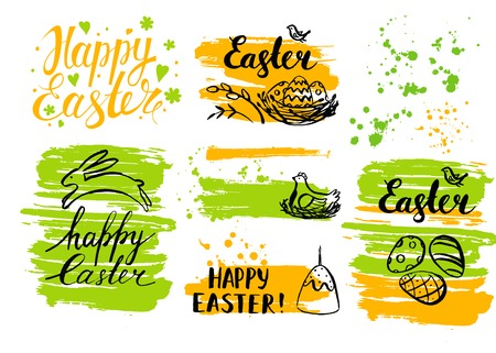 religion  herb: Vector Easter card and hand drawn Easter element. Happy Easter.