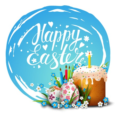grass flowers: Easter Card. Template card with Easter colorful eggs, Easter cake, candles, blue sky, grass and flowers.