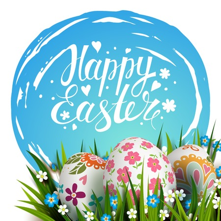 sky grass: Template card with Easter colorful eggs, blue sky, grass and flowers.