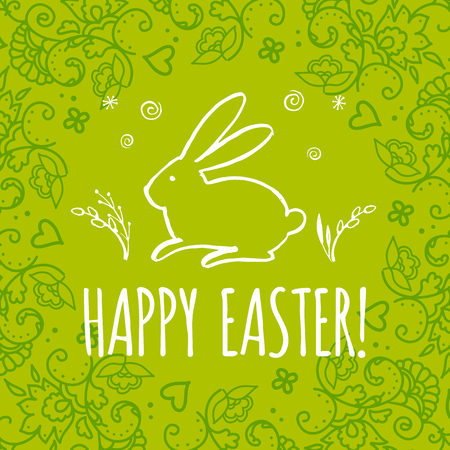 religion  herb: Template design Easter card with Easter bunny.