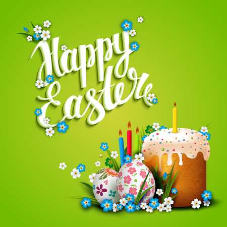 Easter Card. Template with Easter eggs, flowers and Easter cake.