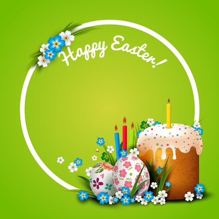 Easter Card. Template with Easter eggs, flowers and Easter cake. Folk paints eggs. Realistic Easter eggs, cake and candles. Vector holiday background. Frame.