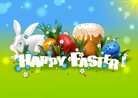 cartoon hare: Easter Card. Template with Easter eggs, rabbit and cake.