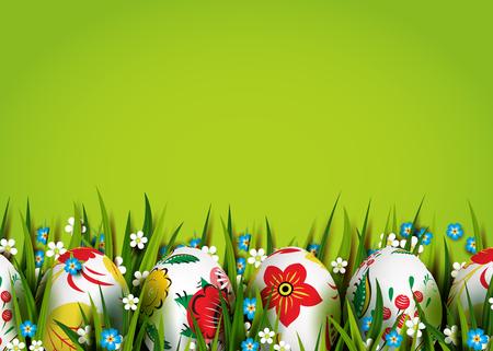 pasqua cristiana: Easter Card. Modello con uova di Pasqua e fiori.