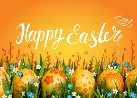 Easter Card. Template with golden Easter eggs and flowers. Folk paints. Happy Easter. Vector  background. Grass and flowers. Lettering, calligraphy. Handwriting inscription.