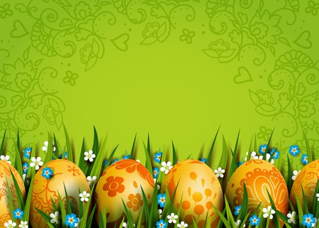 Easter Card. Template with golden Easter eggs and flowers. Folk paints. Happy Easter. Vector green background. Grass and flowers.
