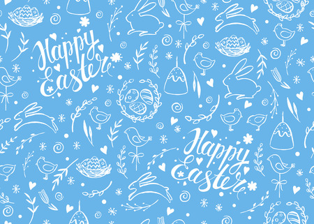 religion  herb: Seamless vector pattern with hand drawn Easter elements. Happy Easter. Floral background. Ink hand drawn inscription. Typography. Lettering. Illustration
