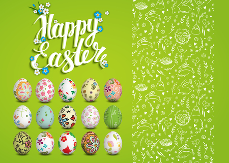 religion  herb: Set of Easter vector seamless pattern, realistic isolated eggs and handwritten inscription. Hand drawn elements. Happy Easter. Sketch. Easter eggs, chicken, rabbit, cake. Typography. Lettering. Illustration