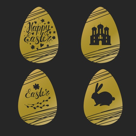 golden eggs: Set of Easter golden eggs with rabbit, inscription and church.