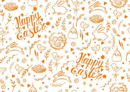 religion  herb: Seamless vector pattern with hand drawn Easter elements.