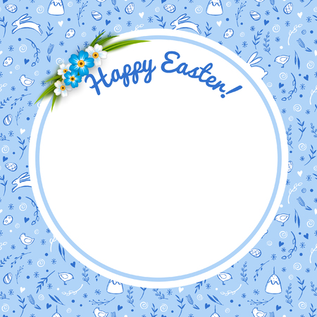religion  herb: Easter round frame with flowers. Seamless vector pattern with hand drawn Easter elements.