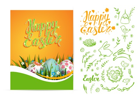 religion  herb: Set of vector Easter card and hand drawn Easter elements.