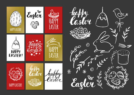 religion  herb: Happy Easter. Template design cards with nest and Easter eggs. Illustration