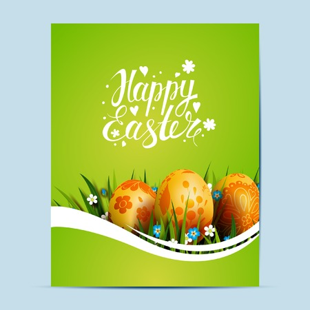 golden eggs: Bright Easter Card. Template card with Easter golden eggs, grass and flowers. Illustration