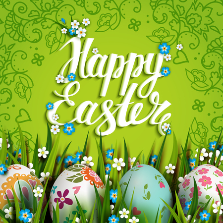 cartoon grass: Easter Card. Template with Easter eggs and flowers.